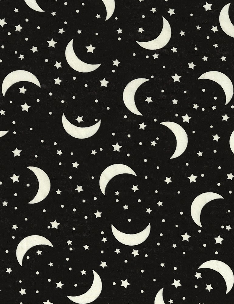 Glow-In-The-Dark Crescent Moon & Stars Moon-CG5530-Black GLOW IN THE DARK Quilting Fabric