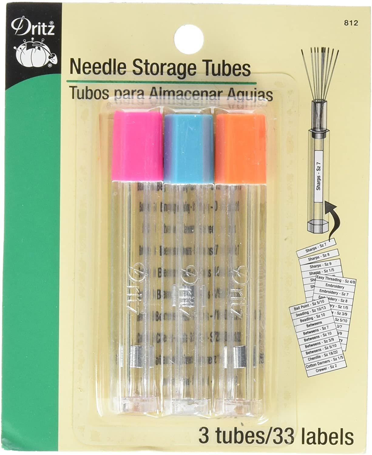 Needle Storage Tubes with 33 Labels by Dritz 812