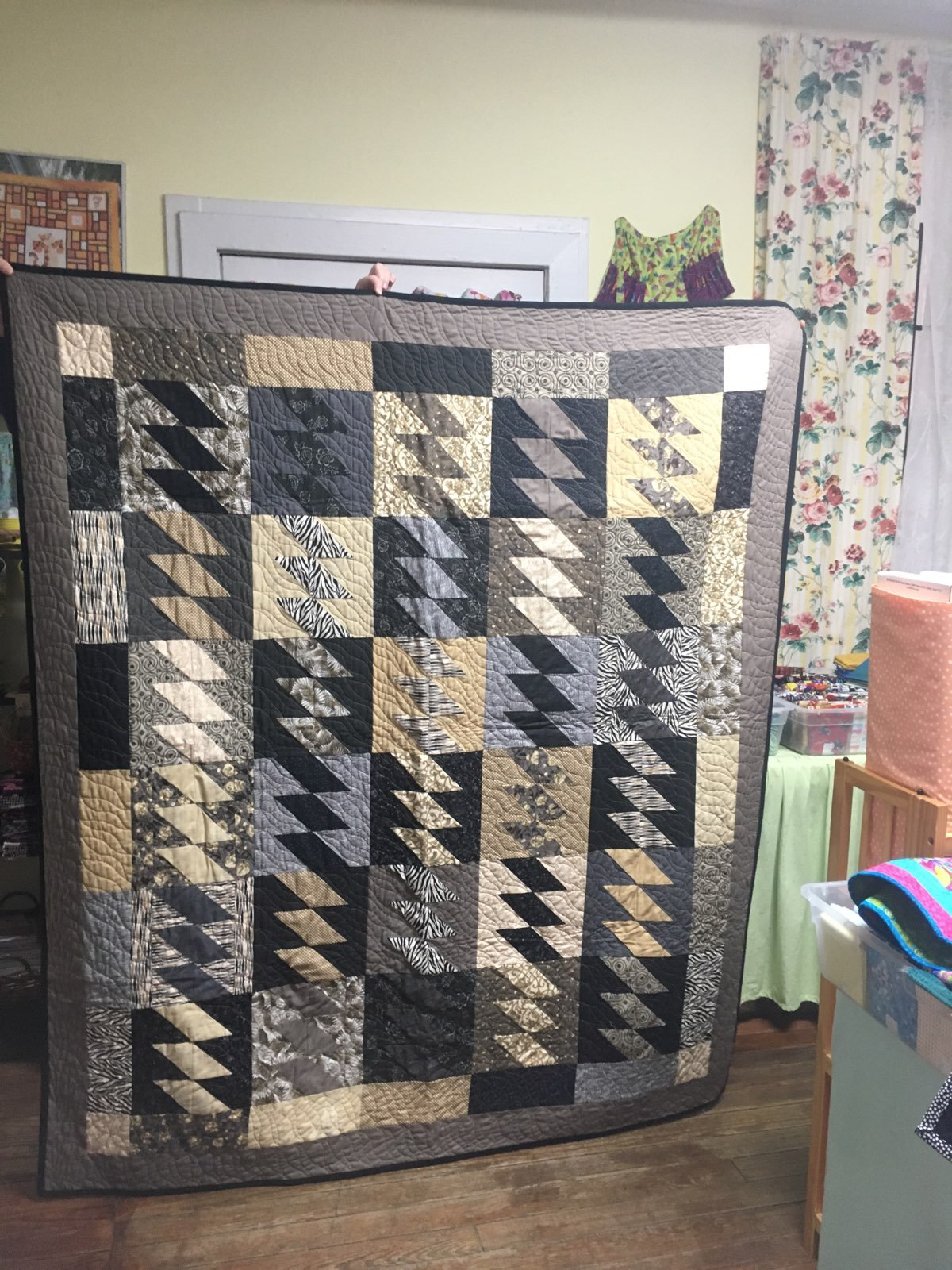 Neutral Quilt with Bird Backing