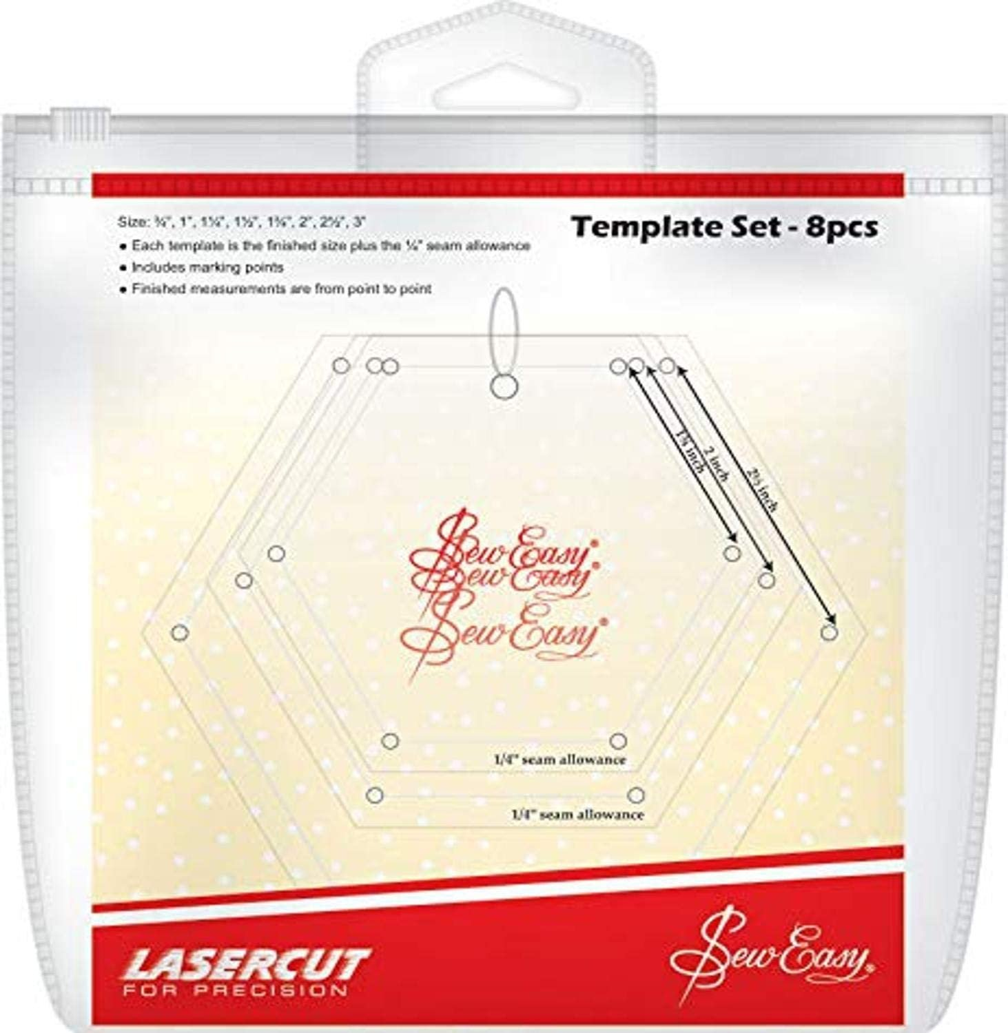 Mini Hexagons 8 piece Template Set by Sew Easy