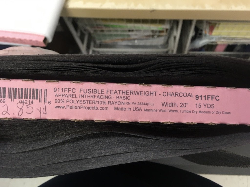 Pellon Fusible Sheerweight Black 20 wide Interfacing for Medical Masks 911FFC