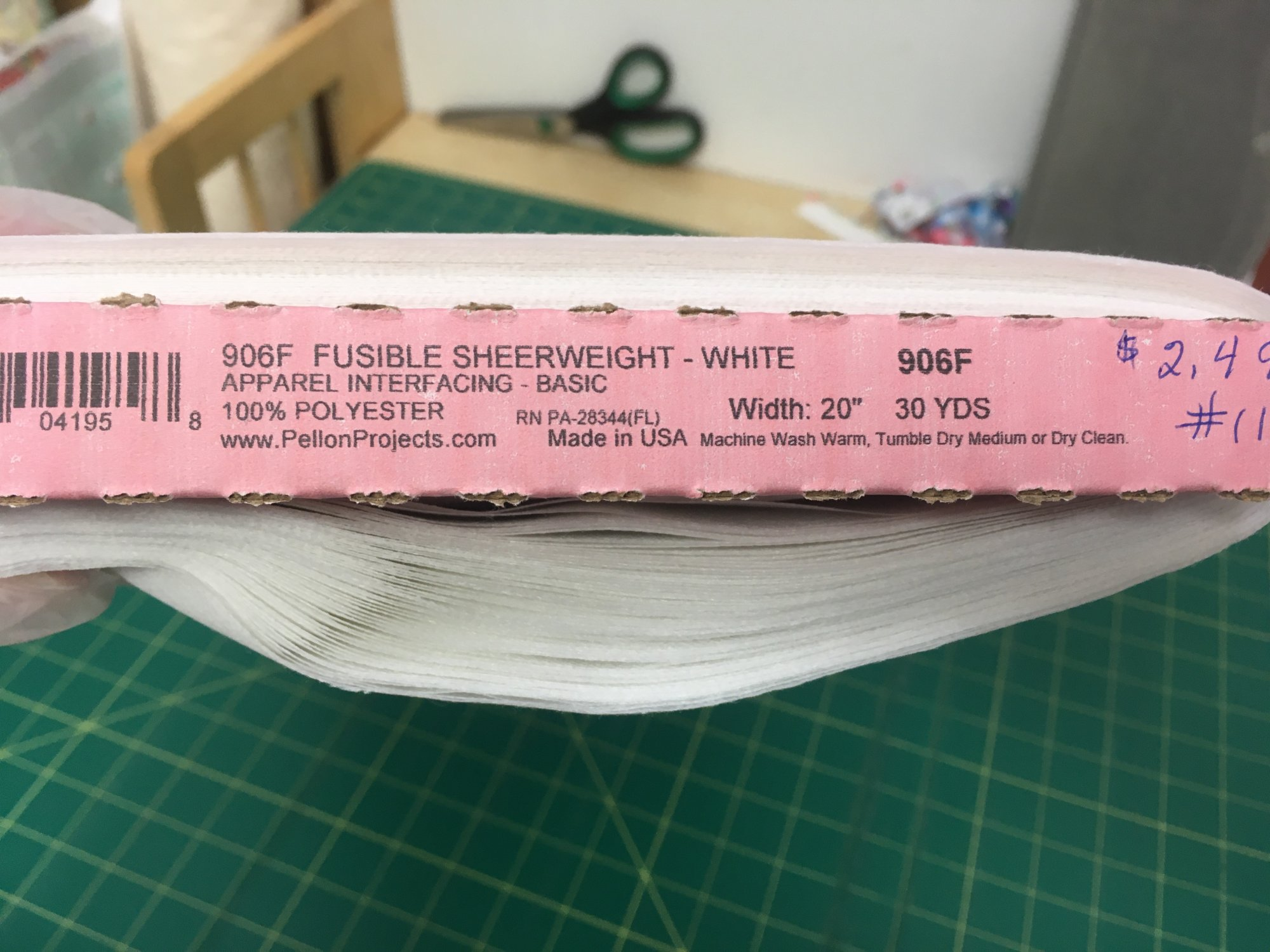 Pellon Fusible Sheerweight White 20 wide Interfacing for Medical Masks 90F