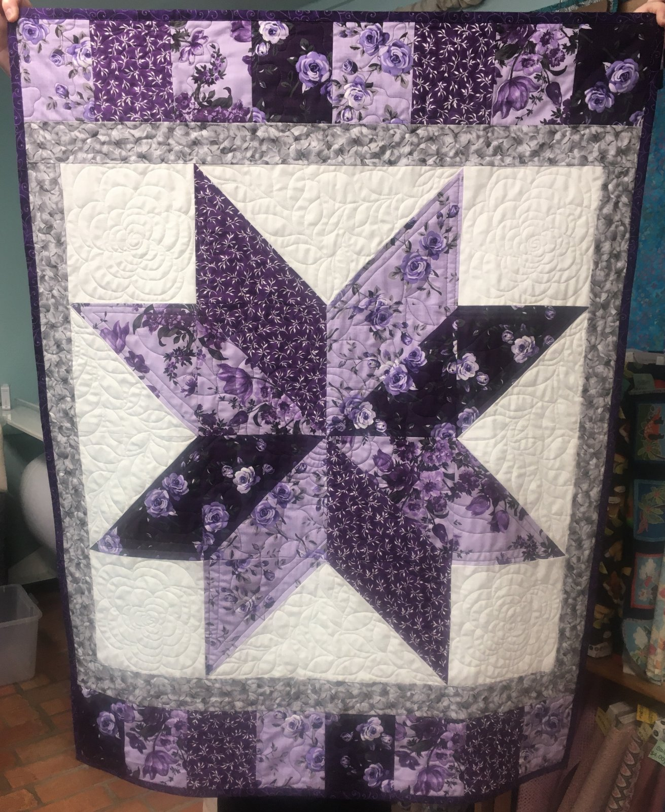 Small Purple Rose Quilt Kit  32 x 42