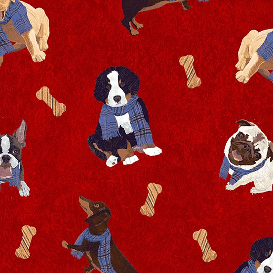 Ruff Life Red Dogs and Bones A-9204-R by andover fabrics