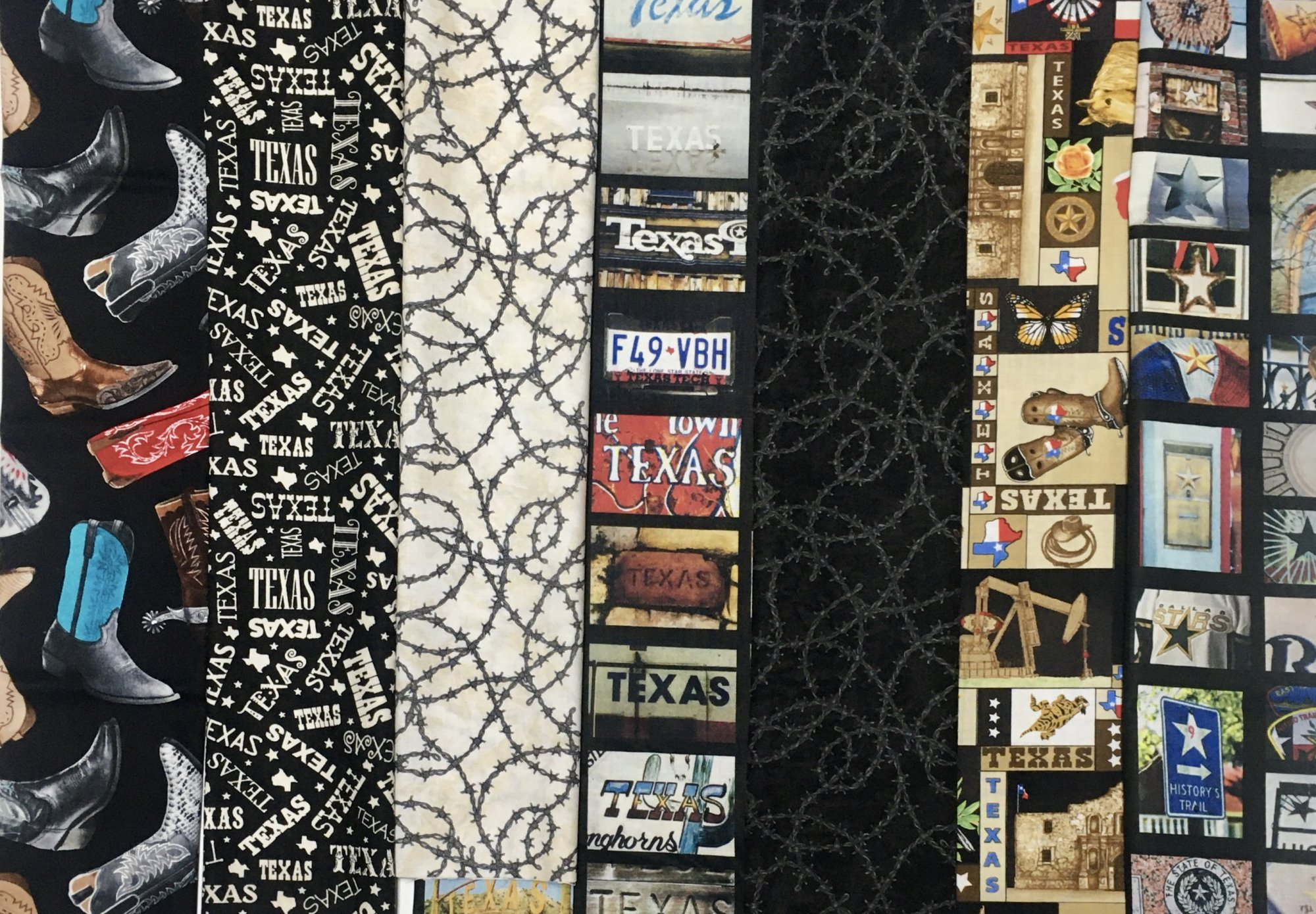 Assorted Texas Western Theme Fat Quarter Bundle- 7 piece