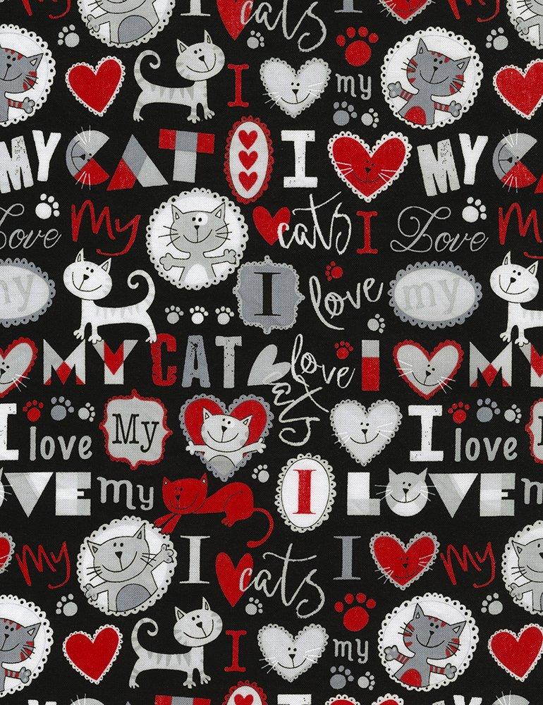 Timeless Treasures I Love My Cat GAIL-C5715 GREY Kitty Chronicles