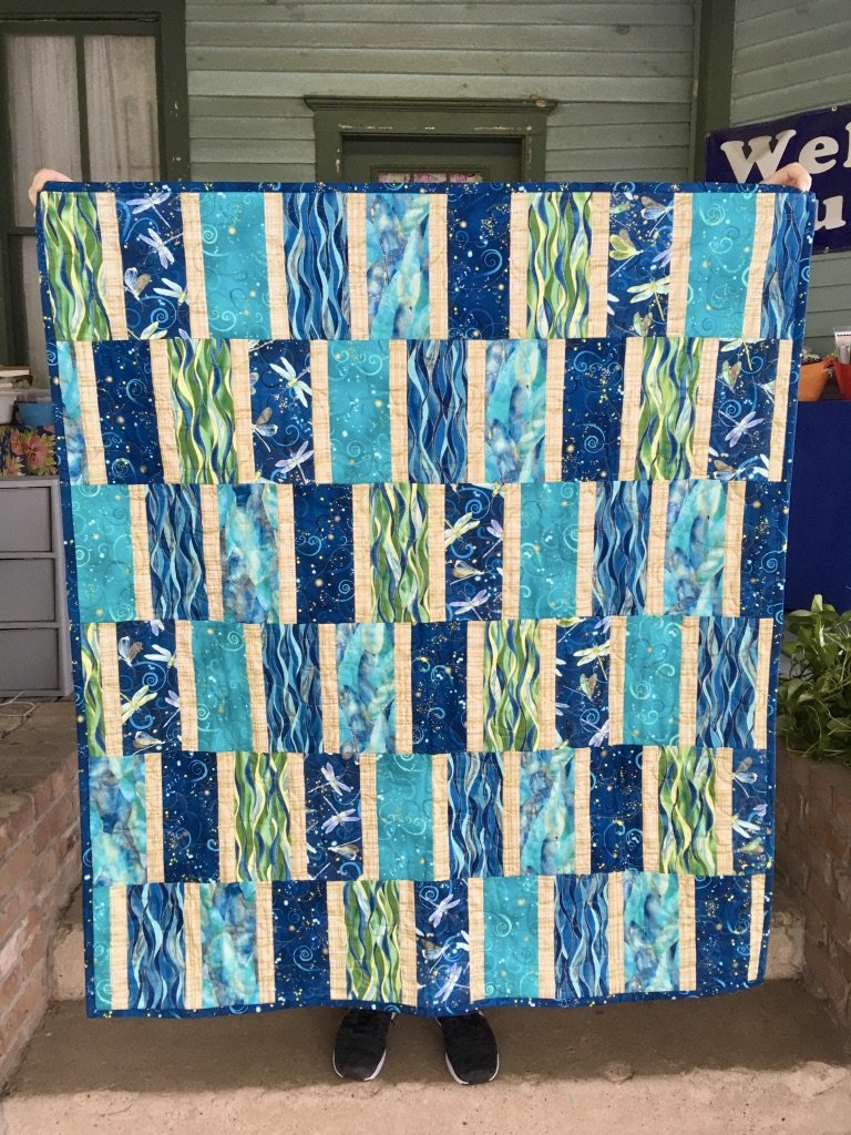 Turquoise Dragonfly Quilt with Metallic Gold Accents 42x47