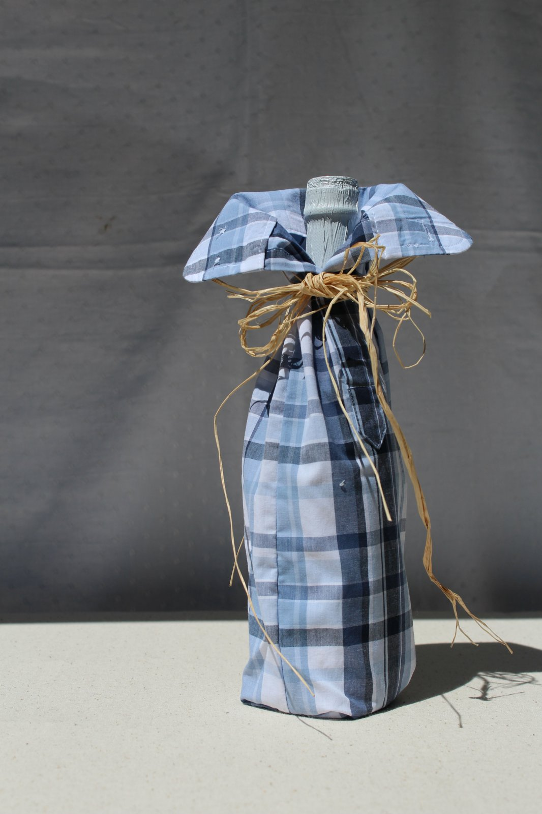 Upcycled Shirts Wine Bottle Cover - Blue
