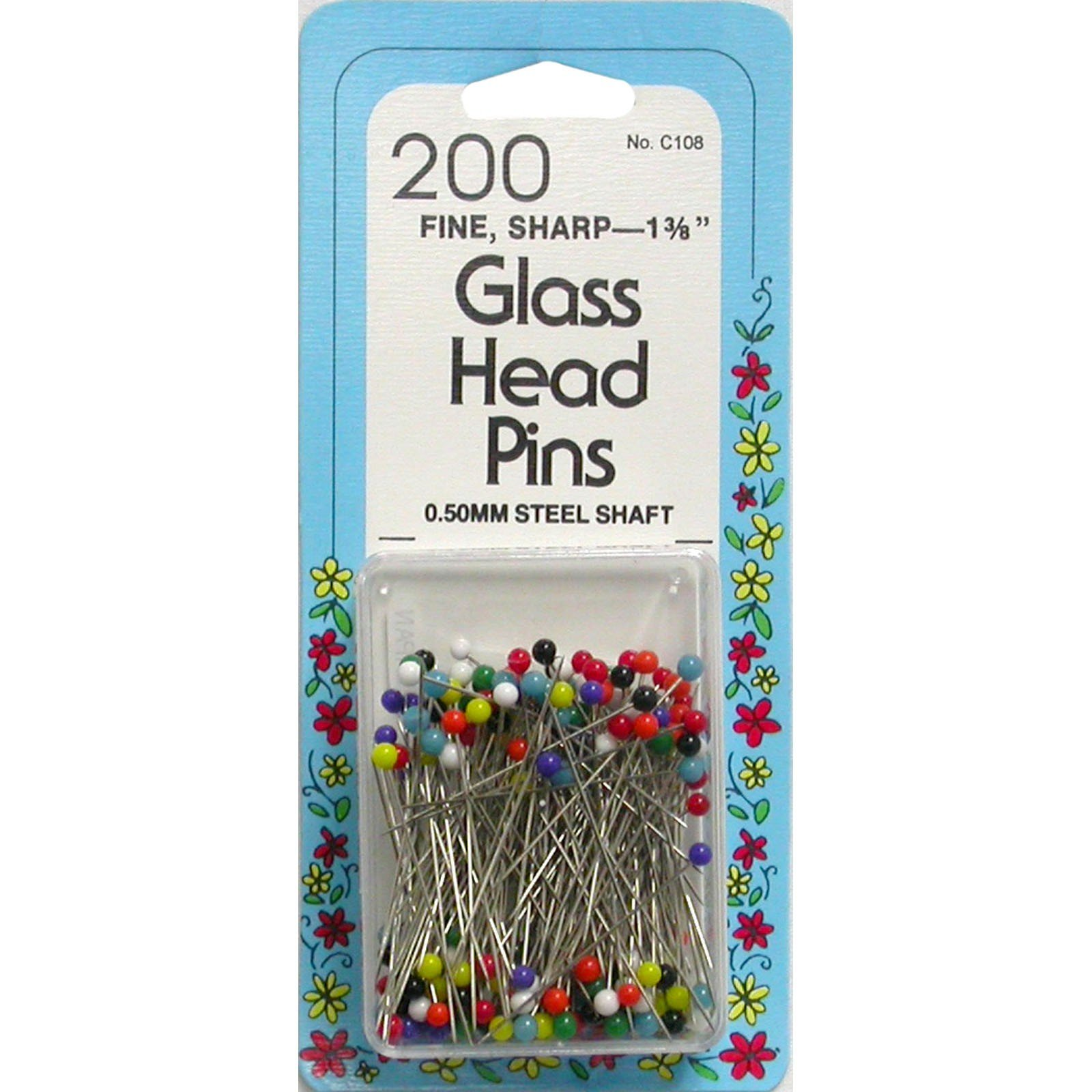 "Glass Head Pins 1-3/8"" Assorted Colors"