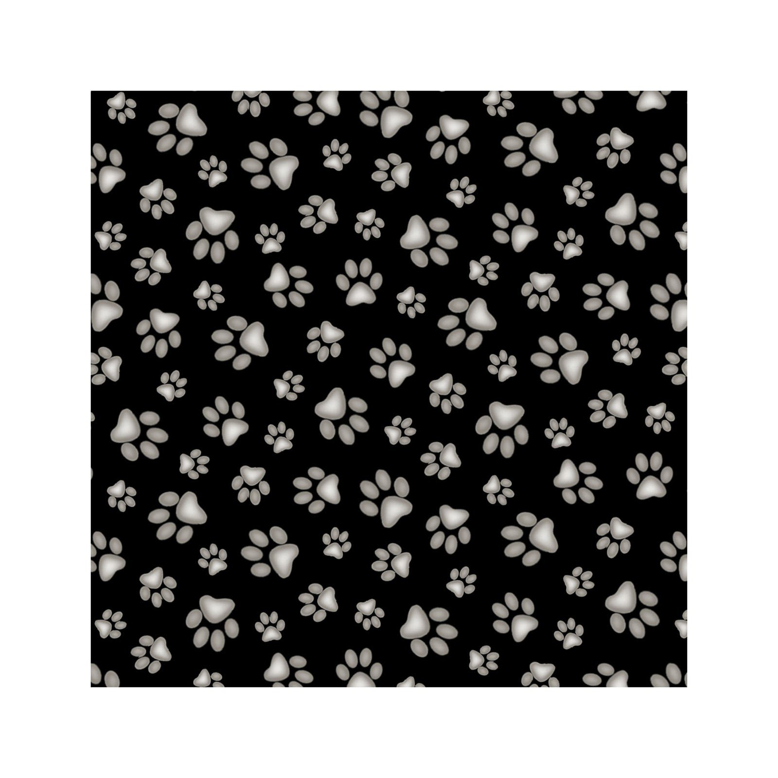 Adorable Pets - Paw Prints on black