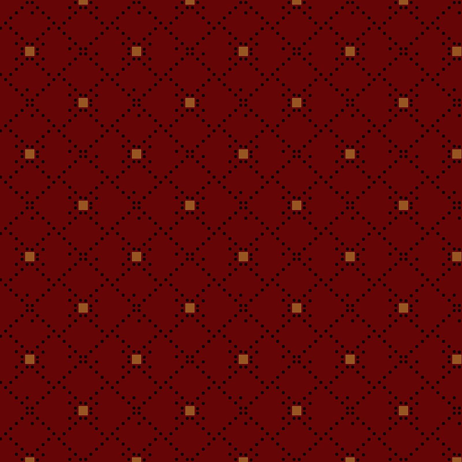 HYC - Berries & Blossoms by Henry Glass - Diamond Geo. Dark Red