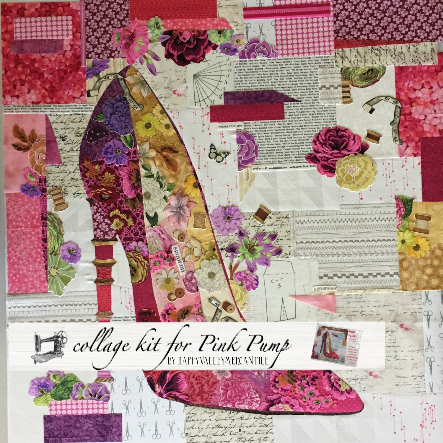 Pink pump collage quilt - kit