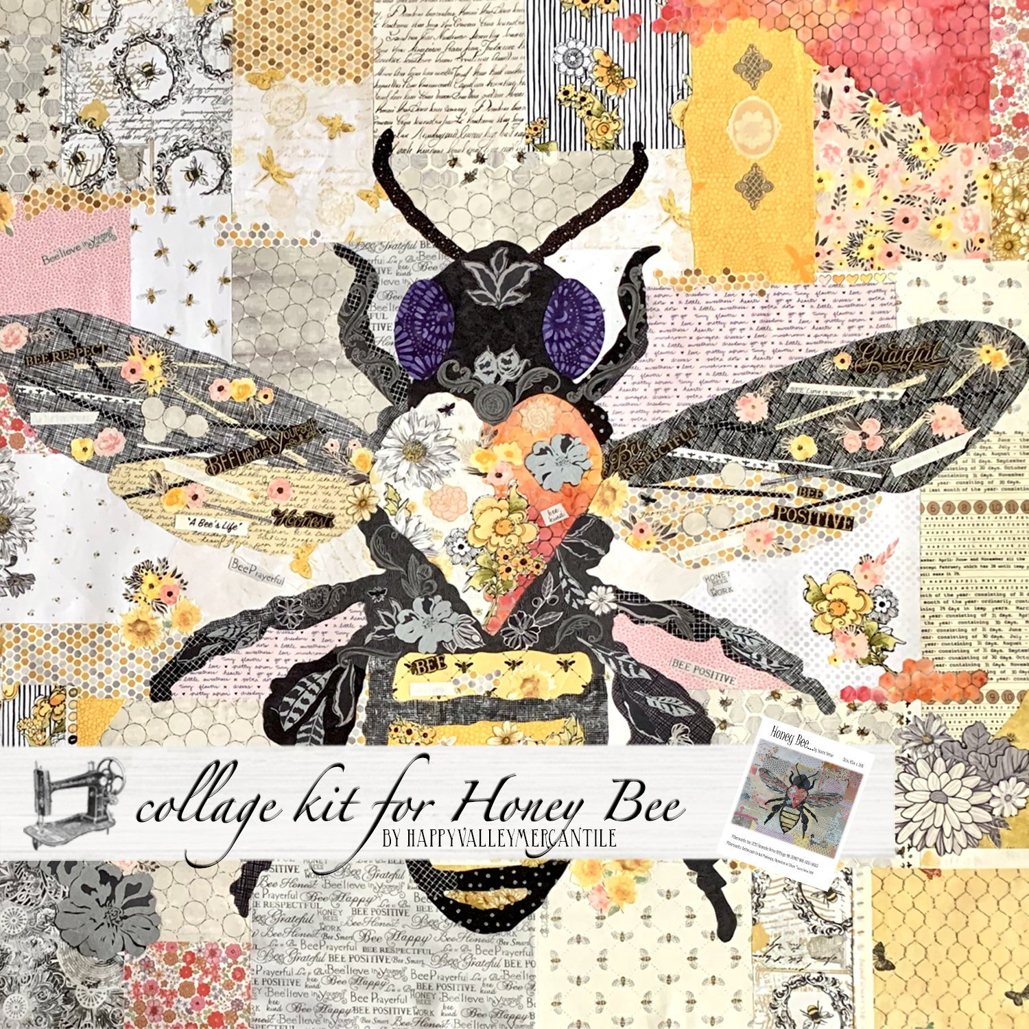 Honey Bee Collage Quilt - Kit