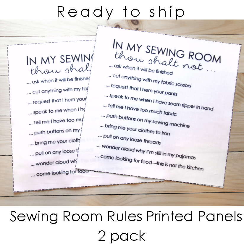 Sewing Room Rules Panel 2-pk