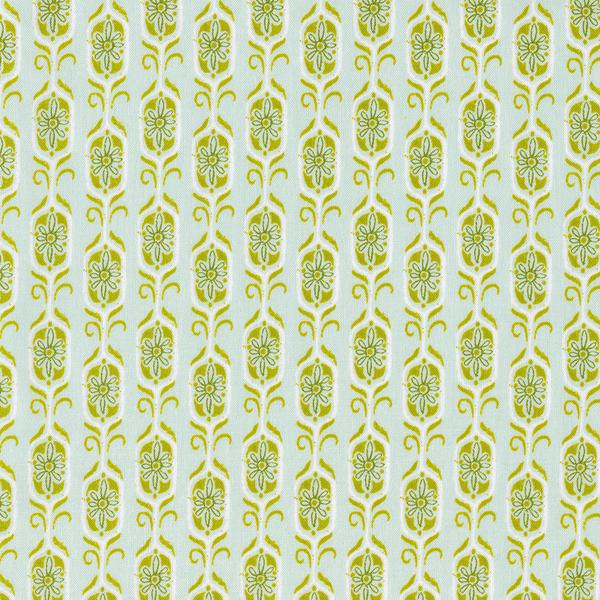 Foxshrine in Green by Sarah Watts from the Tokyo Train Ride collection for Cotton and Steel