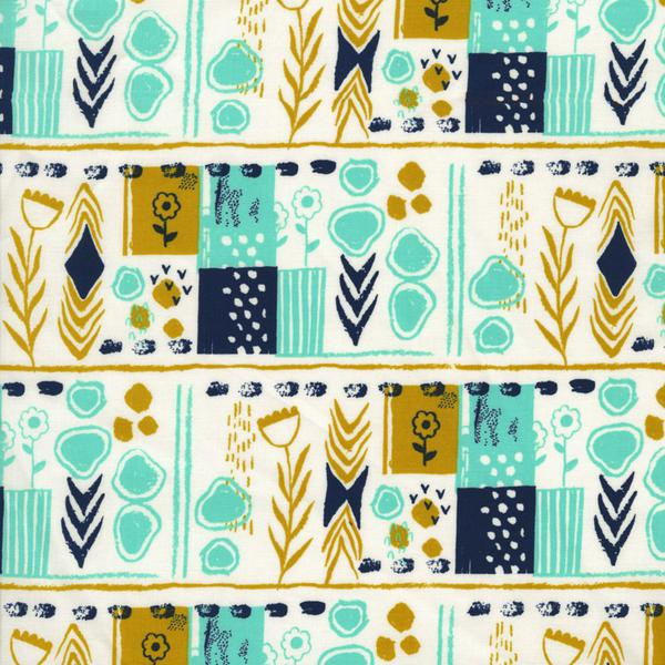 Mezzanine in Teal by Sarah Watts from the August collection for Cotton and Steel