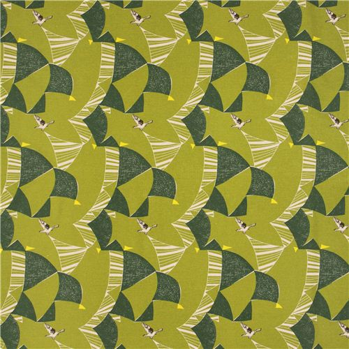 Bird in Green (Canvas Fabric) by Echino for EE Schenk