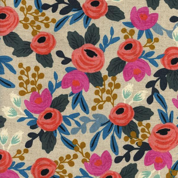 Rosa Flora in Natural (Cotton Linen Canvas Fabric) by Rifle Paper Co. from the Les Fleurs collection for Cotton and Steel #8012-12