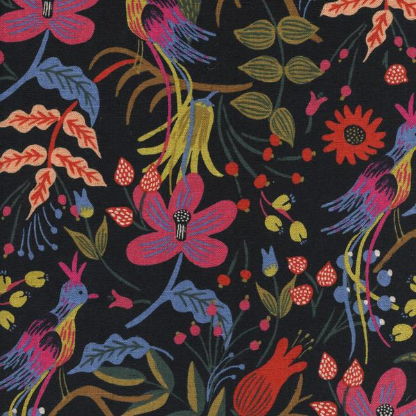 Folk Birds in Black (Cotton Linen Canvas Fabric) by Rifle Paper Co. from the Les Fleurs collection for Cotton and Steel #8010-12