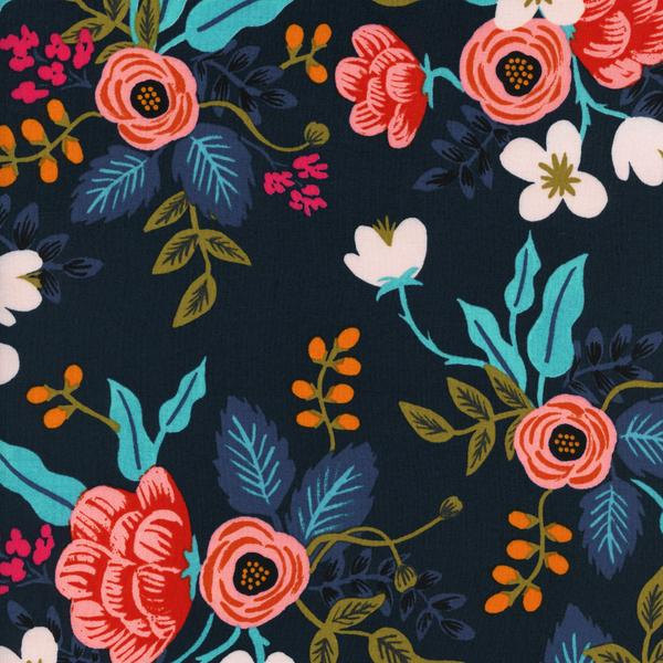 Birch Floral in Navy (Rayon Fabric) by Rifle Paper Co. from the Les Fleurs collection for Cotton and Steel #8008-25