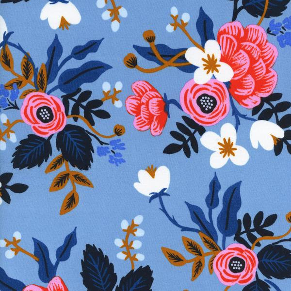 Birch Floral in Periwinkle (Rayon Fabric) by Rifle Paper Co. from the Les Fleurs collection for Cotton and Steel #8008-15