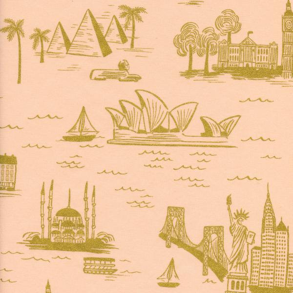 City Toile in Peach (Metallic Gold) (Cotton Lawn Fabric) by Rifle Paper Co. from the Les Fleurs collection for Cotton and Steel #8006-31