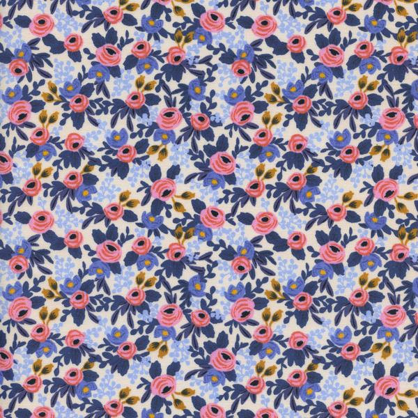 Rosa in Periwinkle by Rifle Paper Co. from the Les Fleurs collection for Cotton and Steel #8004-03