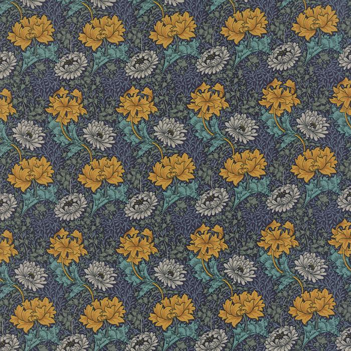 Chrysanthemum in Blue by Barbara Brackman from the Morris Earthly Paradise collection for Moda #8330 11