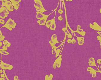 Gingko in Raspberry Metallic (Chambray Fabric) from the Geishas and Ginkgos collection for Andover #pc-7949-mp