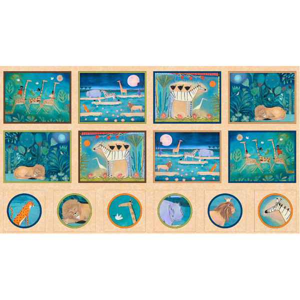 24 panelAnimal Picture Patches in Multi from the The Migration collection for Quilting Treasures #1649 24973 x 150