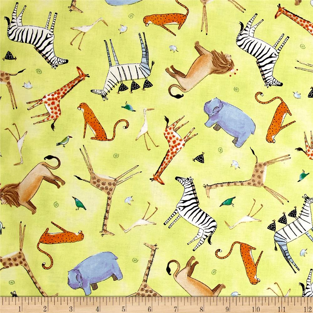 Animal Toss in Light Lime from the The Migration collection for Quilting Treasures #1649 24973 h 150