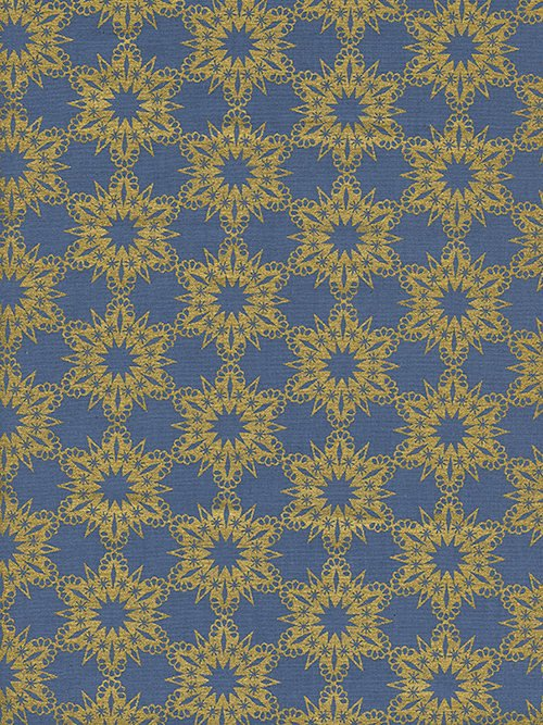 Gold Flakes in Blue Metallic by Melody Miller from the Noel collection for Cotton and Steel #c5141-002