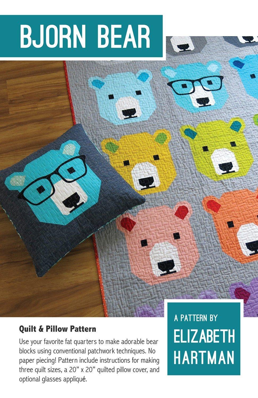 Bjorn Bear Quilt & Pillow Pattern Paper Pattern from Elizabeth Hartman #eh-028