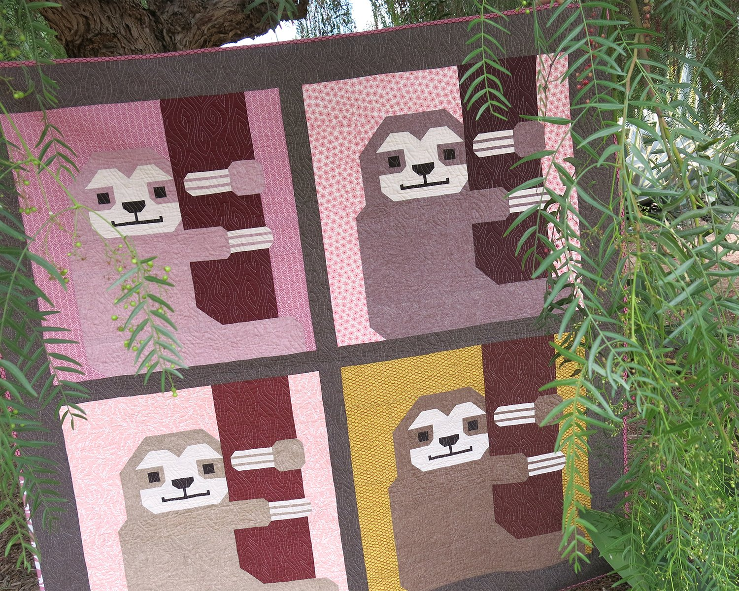 Sleepy Sloth Quilt and PIllow Patern Paper Pattern from Elizabeth Hartman #eh-033