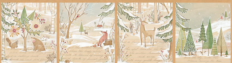 12 panel A Day in the Forest Panel by Cori Dantini from the Winter News collection for Blend #112.117.01.1