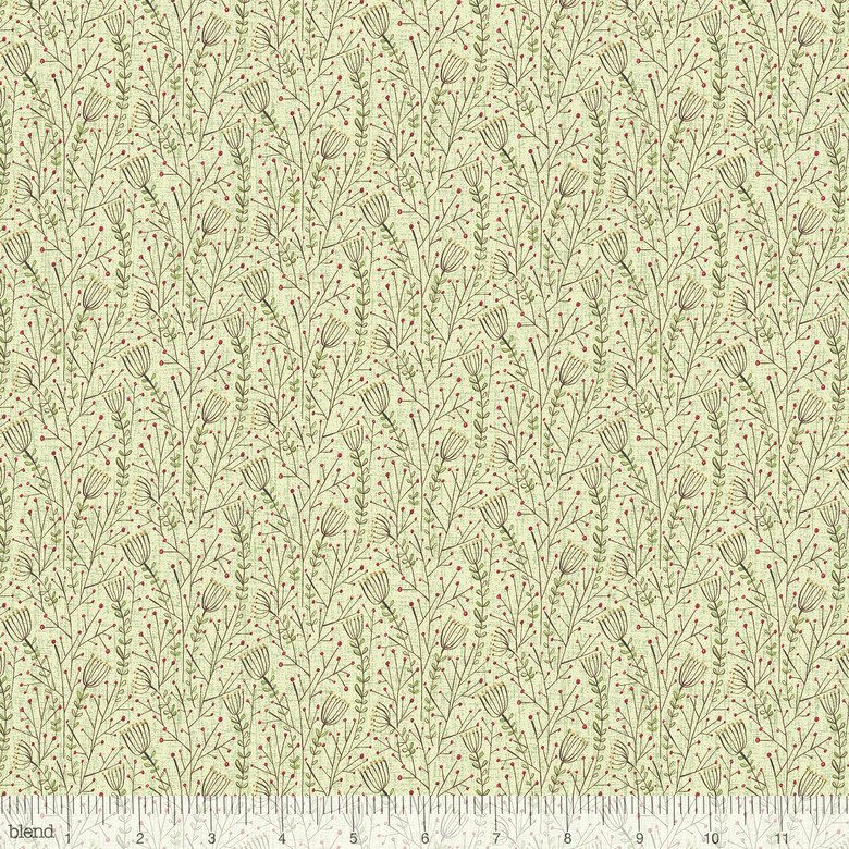 Lace Flowers in Green by Cori Dantini from the Winter News collection for Blend #112.117.05.1