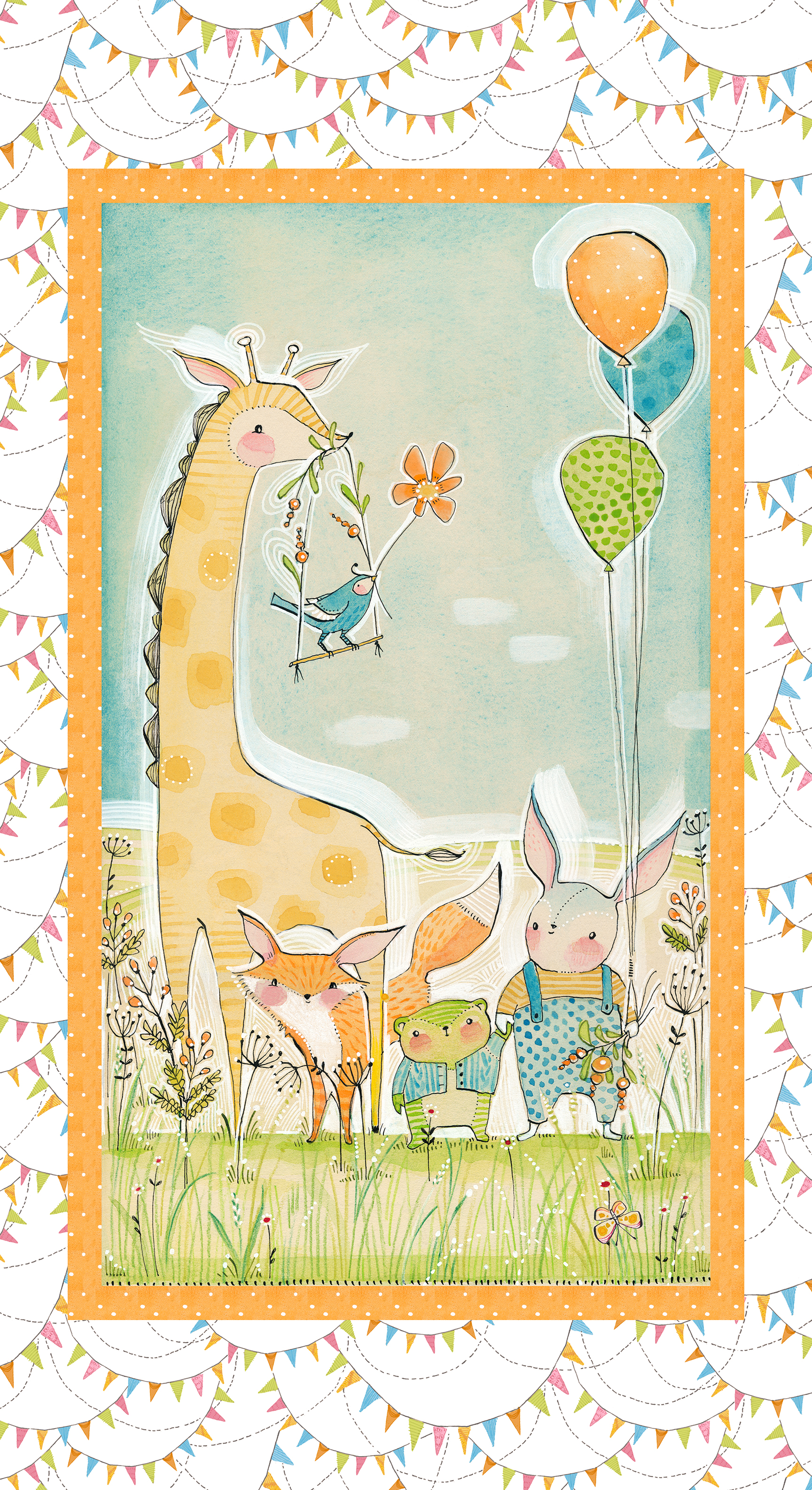 24  panelWee Pals Panel by Cori Dantini from the Hello World... Good Day collection for Blend #112.103.08.1