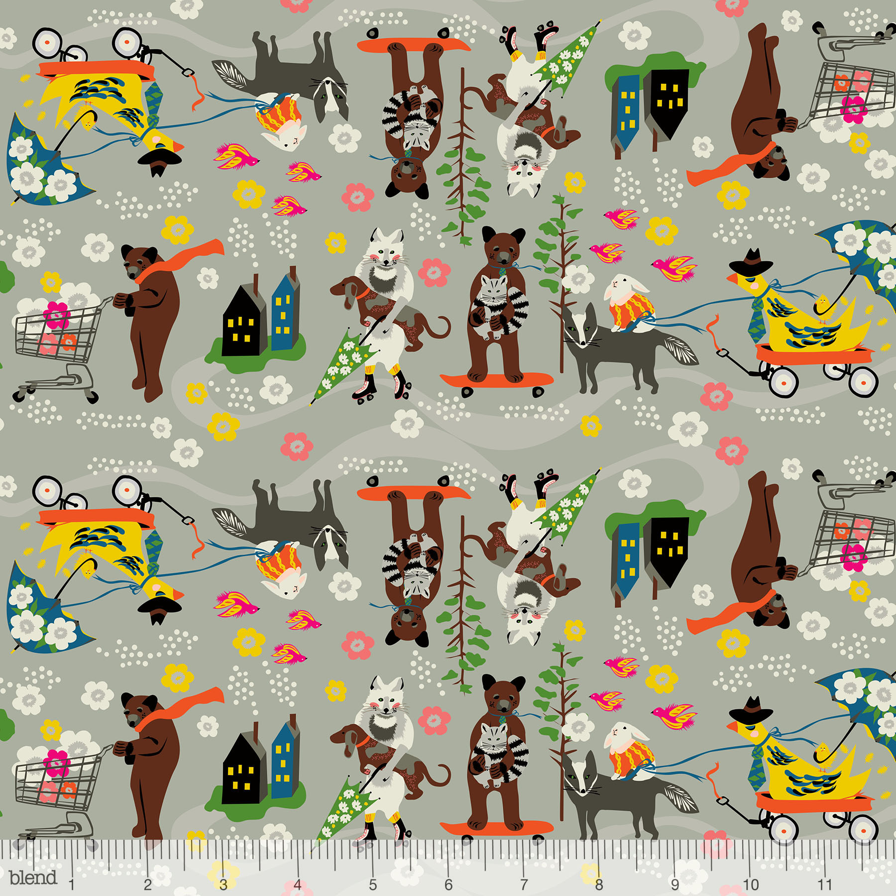 Car Pool in Grey by Elizabeth Grubaugh from the Caravan collection for Blend #126.102.01.1
