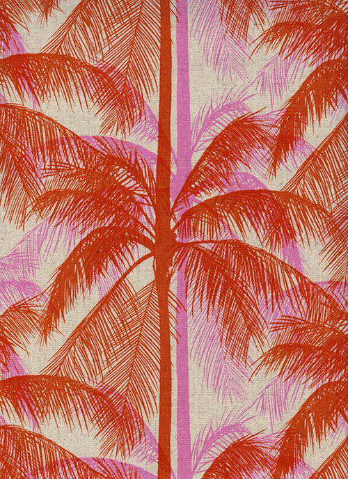 Palms in Pink (Cotton Linen Canvas Fabric) by Melody Miller and Alexia Abegg from the Poolside collection for Cotton and Steel #6017-22