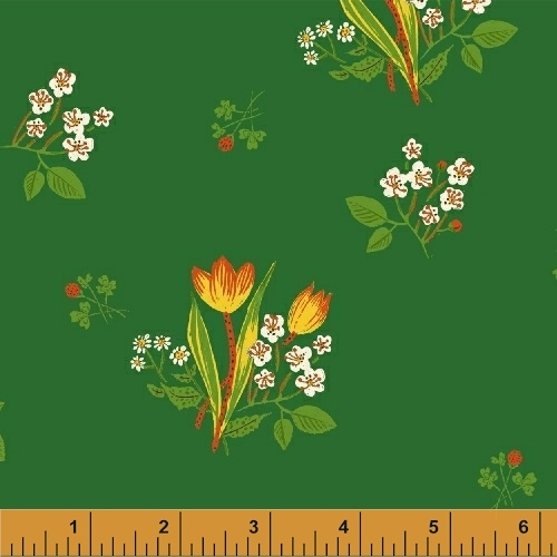 Spring Blooms in Green by Heather Ross from the Kinder collection for Windham #43482-6