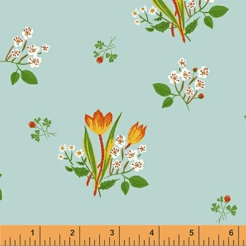 Spring Blooms in Sky Blue by Heather Ross from the Kinder collection for Windham #43482-9