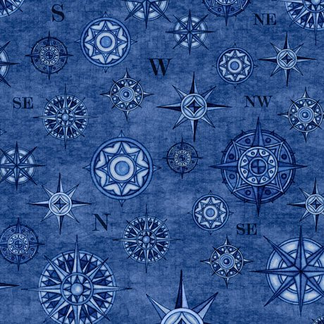 Compasses in Denim from the Wanderlust collection for Quilting Treasures #1649 26725-B-15O