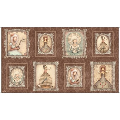 24 panel, Girl Picture Patches in Brown by Santoro London from the Lost Song collection for Quilting Treasures #1649-267-07-A-15O