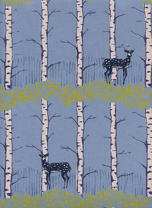 Fawn Forest in Blue by Sarah Watts from the Frost collection for Cotton and Steel #C5186-01
