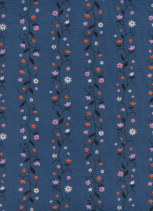 Daisy Vines in Denim by Kim Kight from the Welsummer collection for Cotton and Steel #3061-01