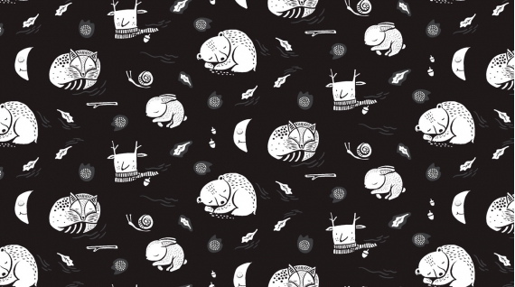 Hibernation in Black by Rae Ritchie from the Harvest Moon collection for Dear Stella #WG993