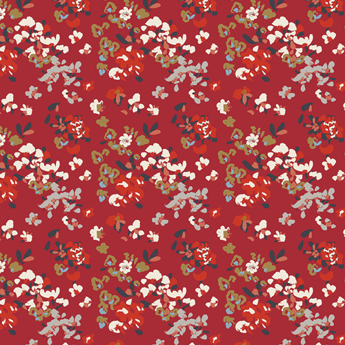 Vintage Florets in Red (Knit Fabric) by AGF Studio from the Trinkets Fusion collection for Art Gallery #KF-1406