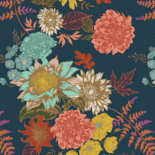 Floral Glow in Twilit (Cotton Spandex Knit Fabric) from the Autumn Vibes Collection by Maureen Cracknell for Art Gallery