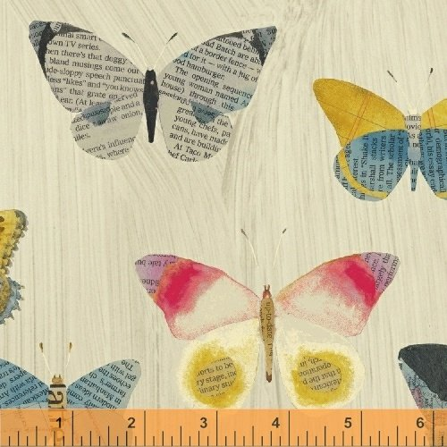 Pre-order: Newspaper Butterflies in Sand by Carrie Bloomston from the Wonder collection for Windham #50515-1