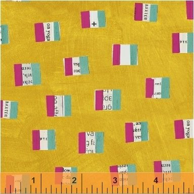 French Flags in Mustard by Carrie Bloomston from the Wonder collection for Windham #50518-4